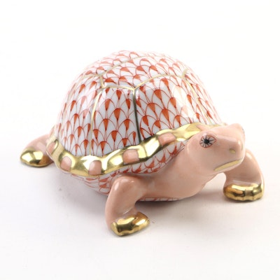 "Herend Rust Fishnet with Gold ""Turtle"" Porcelain Figurine"