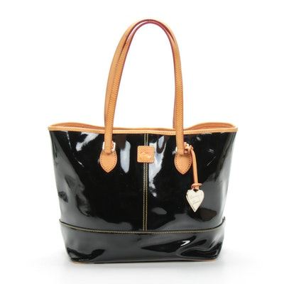Dooney & Bourke Black Patent Leather Shopping Tote with Tan Leather Trim