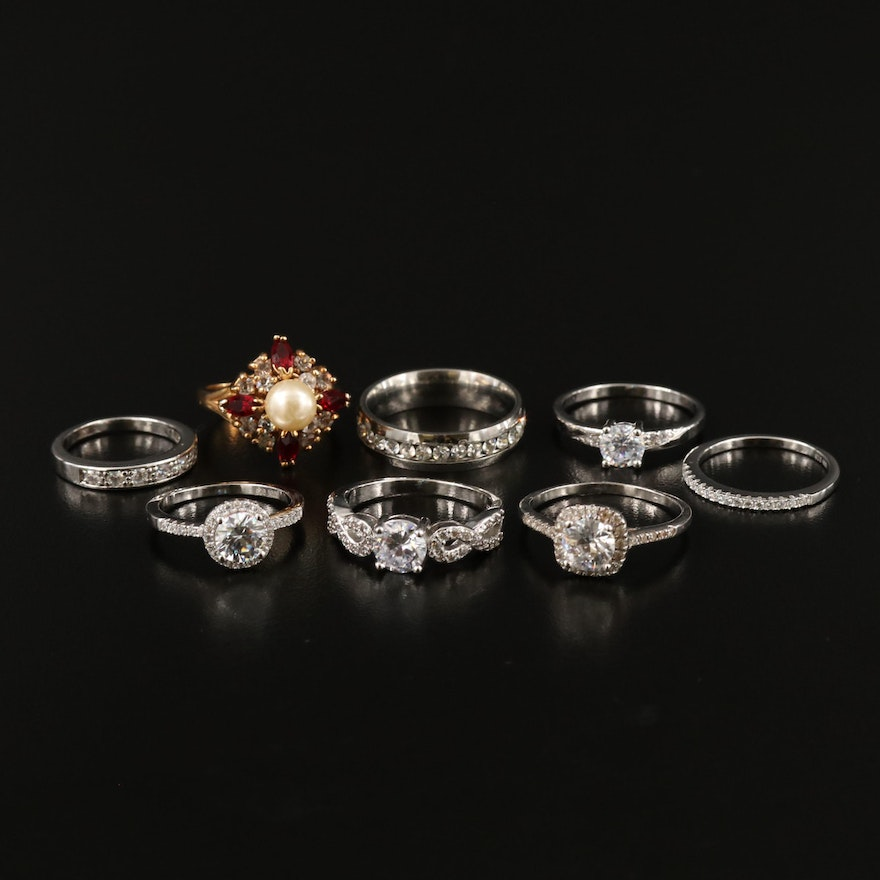Rings Including Rhinestones, Cubic Zirconia, Imitation Pearl and Sterling