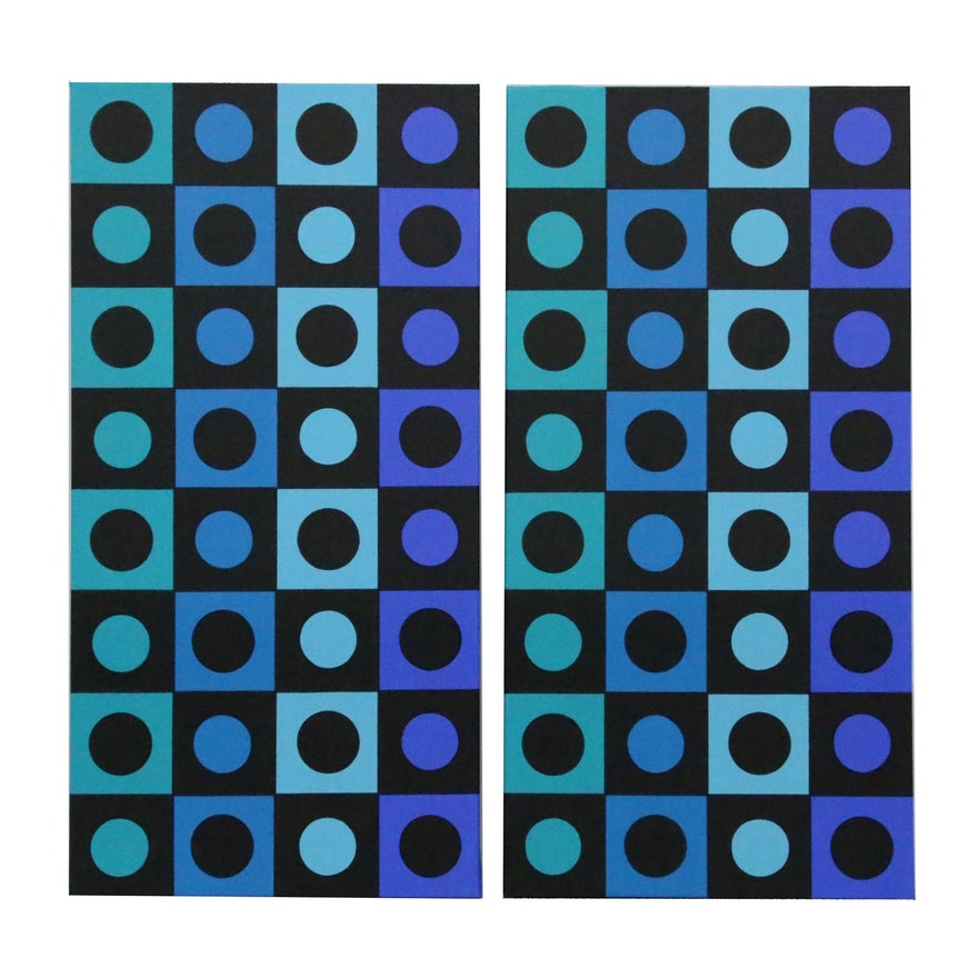 """deSanto Op Art Acrylic Painting """"Symfonia III"""""""
