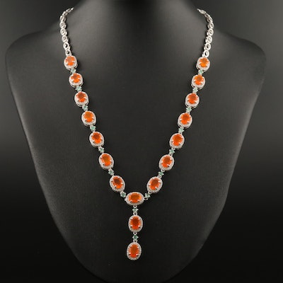 Sterling Silver Fire Opal, Emerald and Cubic Zirconia Necklace