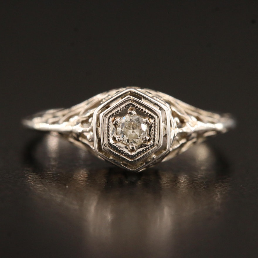 Art Deco 18K 0.06 CT Diamond Solitaire Ring with Floral Motif