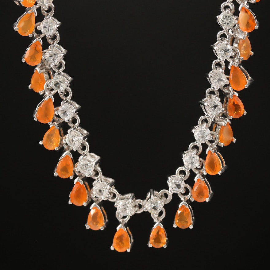 Sterling Silver Fire Opal and Topaz Fringe Necklace