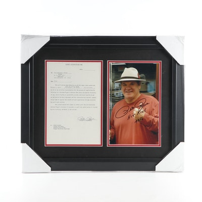 "Pete Rose Signed ""Hit King 4256"" Framed Photo Print, CEI Sports COA"