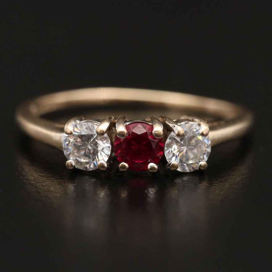 10K Ruby and Cubic Zirconia Ring
