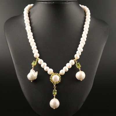 Sterling Silver Pearl and Peridot Dangle Necklace