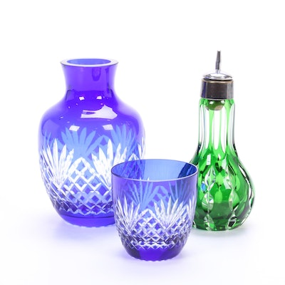 Cut-To-Clear Glass Cobalt Bedside Carafe and Emerald Bitters Bottle