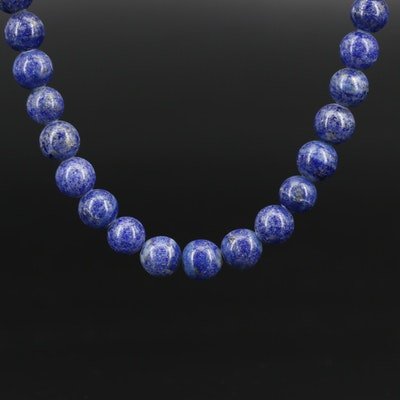 Lapis Lazuli Beaded Necklace with 10K Clasp