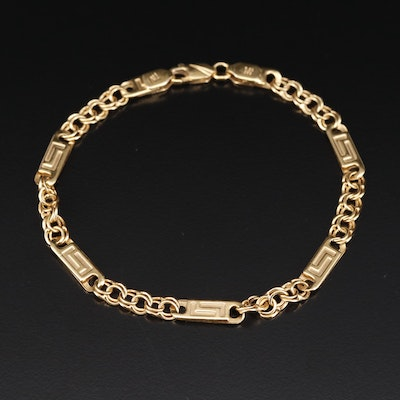14K Chain Link Bracelet with Geometric Motif