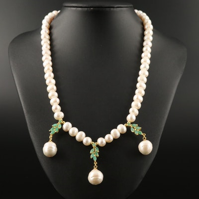 Sterling Silver Emerald and Pearl Necklace