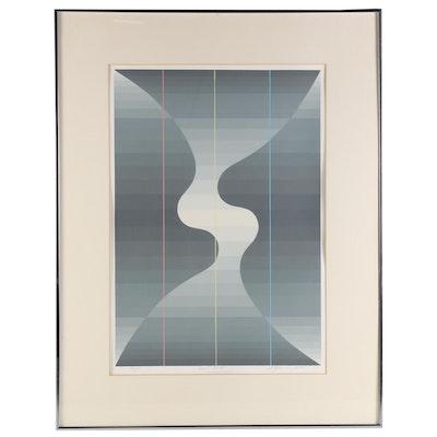 """Roy Ahlgren Op Art Serigraph """"Devil Wind"""", 1982"""