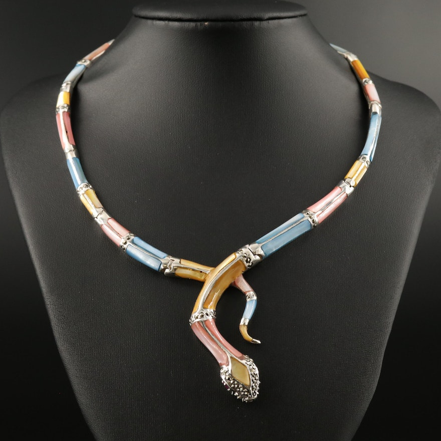 Sterling Silver Mother of Pearl Inlay, Marcasite and Ruby Snake Choker Necklace