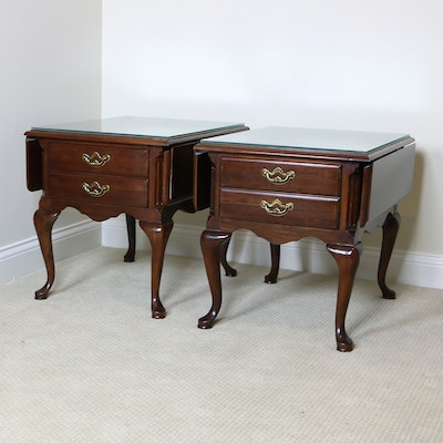 Thomasville Queen Anne Style Drop Leaf Cherry Side Tables