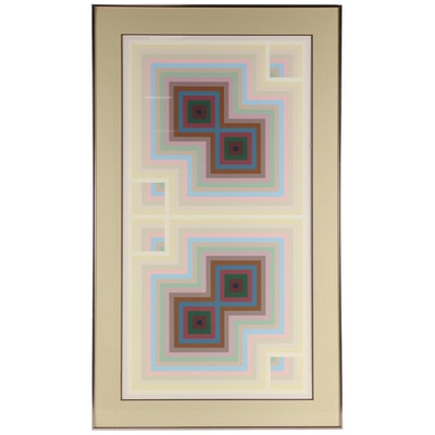 Geometric Abstract Serigraph of Op Art Composition, Late 20th Century