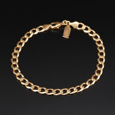 18K Curb Link Bracelet with Cartouche Charm