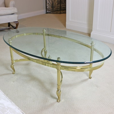 Ethan Allen Regency Style Brass and Glass Oval Coffee Table