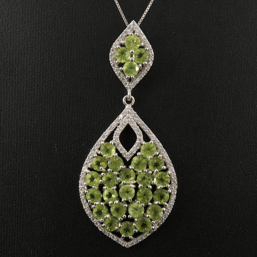 Sterling Silver Peridot and Cubic Zirconia Cluster Pendant Necklace