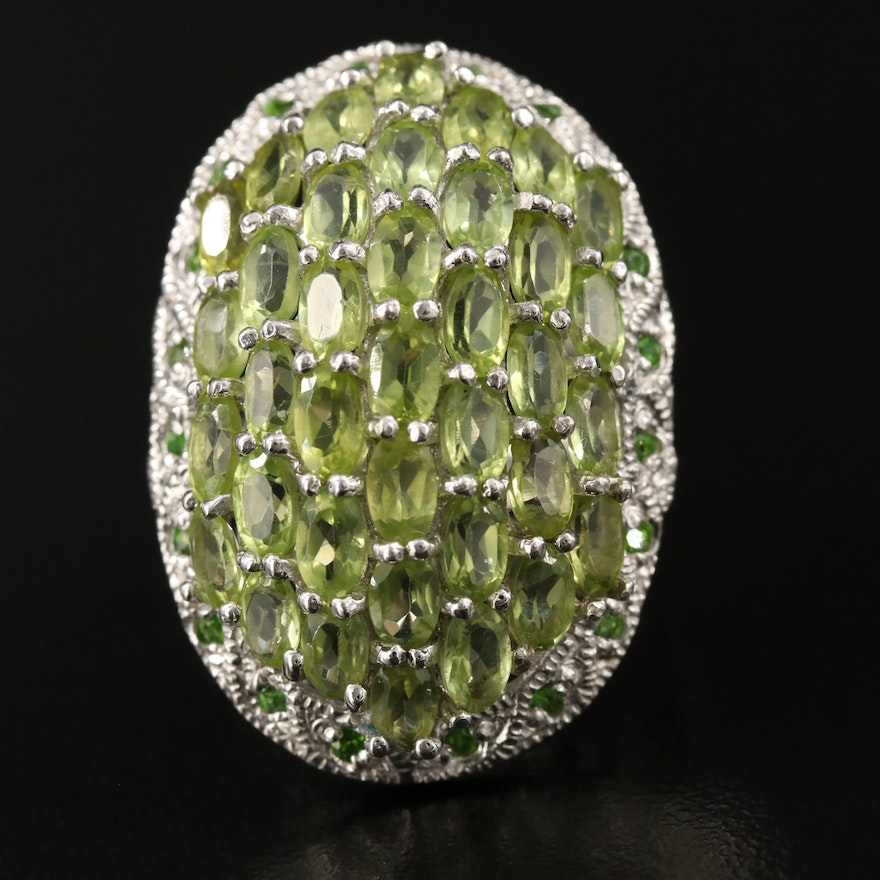 Sterling Silver Peridot and Diopside Dome Cluster Ring