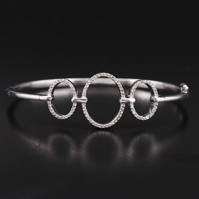 Sterling Silver Diamond Concentric Bangle