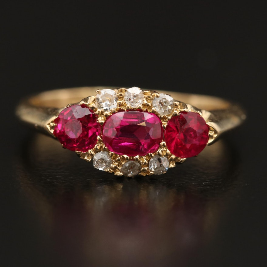 Victorian 18K Ruby and Diamond Ring