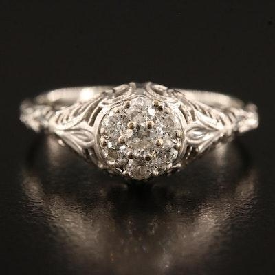 Edwardian 18K Diamond Ring with Filigree Work