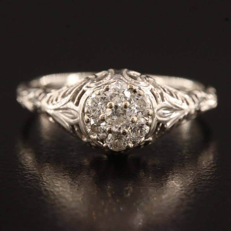 Edwardian 18K Diamond Ring with Filigree Work