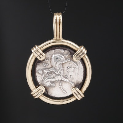14K Pendant Featuring Ancient Calabrian Silver Coin