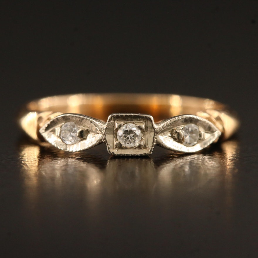 Vintage 14K Two Tone Diamond Ring