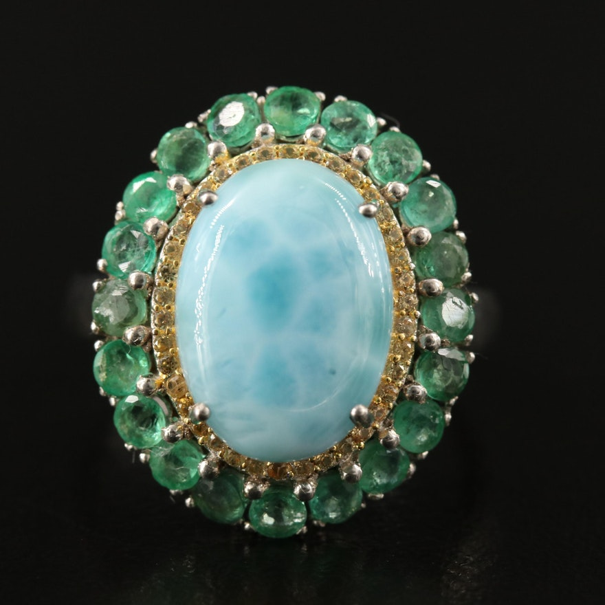 Sterling Silver Larimar, Emerald and Sapphire Double Halo Ring