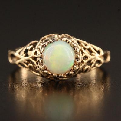 Vintage 10K Opal Openwork Ring