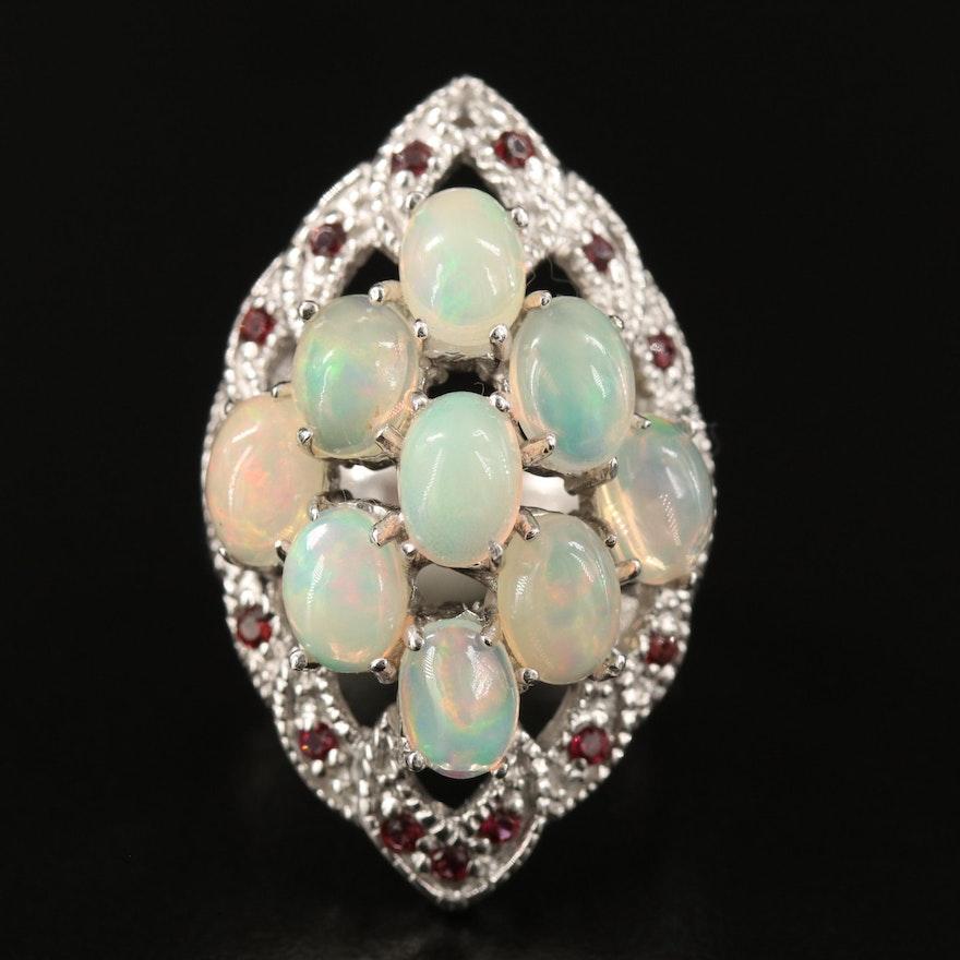 Sterling Silver Opal and Rhodolite Garnet Pointer Ring