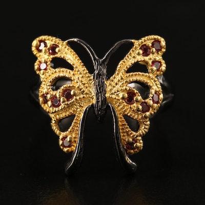 Sterling Silver Rhodolite Garnet Butterfly Ring
