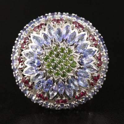 Sterling Silver Tanzanite, Diopside and Rhodolite Garnet Ring