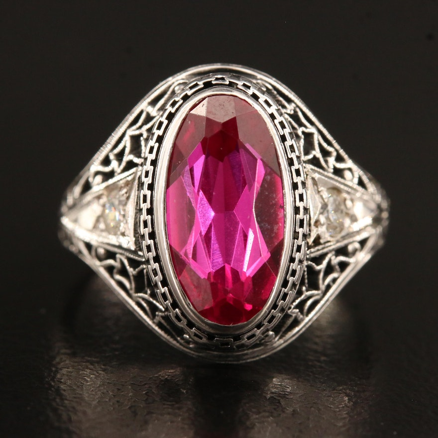 Vintage Style 14K Ruby and Diamond Ring