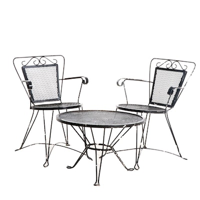 Black Painted Metal Patio Chairs and Table, Late 20th Century