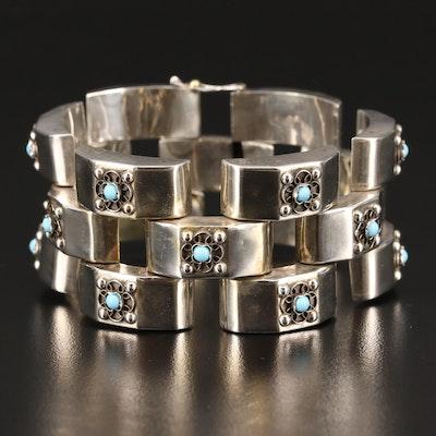 Mexican Sterling Silver Floral Motif Link Bracelet