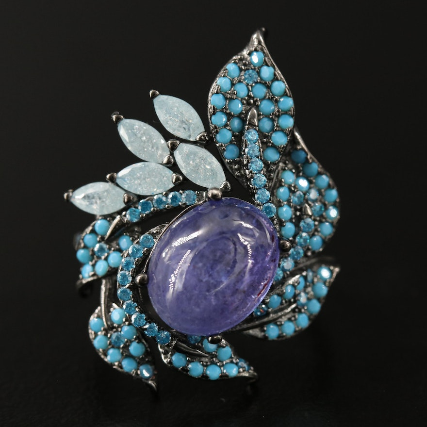 Sterling Silver Tanzanite, Quartz and Glass Foliate Ring