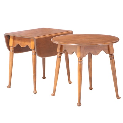 Two Baumritter Queen Anne Style Maple Side Tables, Mid to Late 20th Century