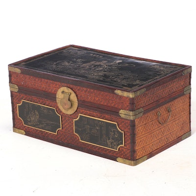 Maitland-Smith Brass-Mounted and Woven Trunk with Chinoiserie-Decorated Panels