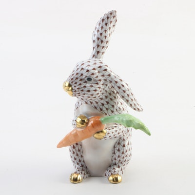 "Herend Chocolate Fishnet with Gold ""Large Bunny with Carrot"" Porcelain Figurine"