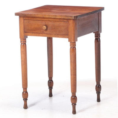 American Primitive Cherrywood Side Table, 19th Century