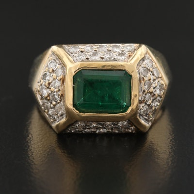 14K 1.20 CT Emerald and Diamond Geometric Pattern Ring