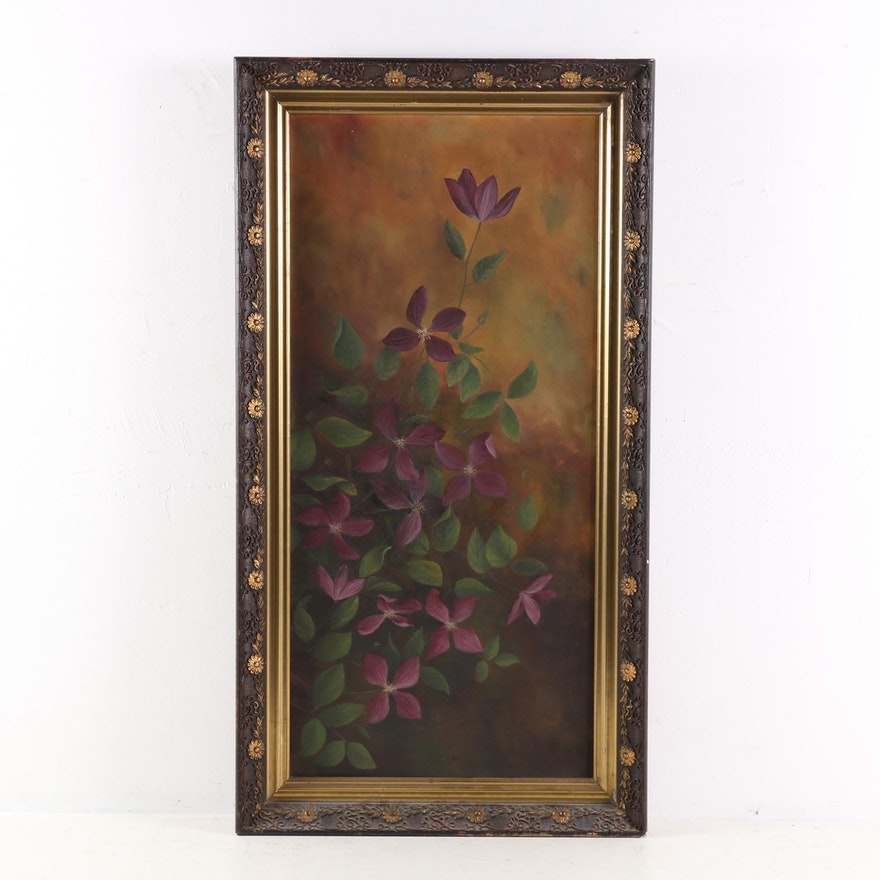 Still Life of Purple Flowers Oil Painting, Late 19th to Early 20th Century