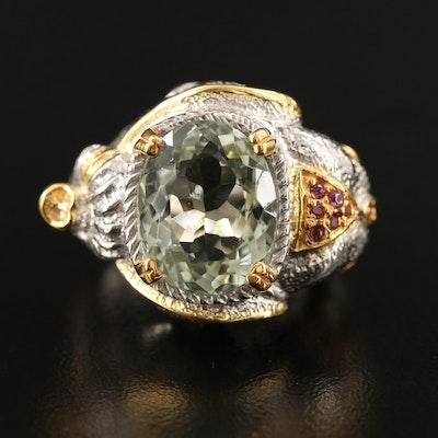 Sterling Silver Prasiolite and Garnet Elephant Motif Ring