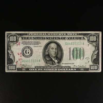 Series of 1934-A $100 Federal Reserve Note