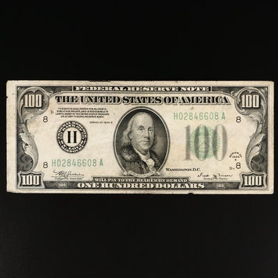 Series of 1934-B $100 Federal Reserve Note