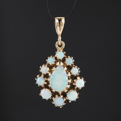 Vintage 14K Pear Opal Cabochon Pendant Surrounded by Graduated Opals
