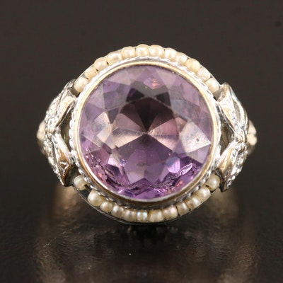 Belle Époque Lafayette Jewelry Manufacturing Co. 14K Amethyst and Pearl Ring