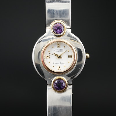 Ecclissi Amethyst, Sterling Silver and Stainless Steel Quartz Wristwatch