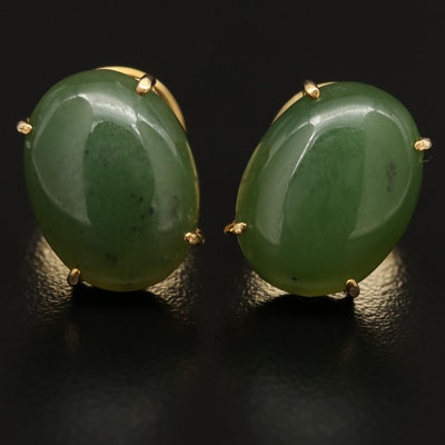 Nephrite Oval Button Earrings